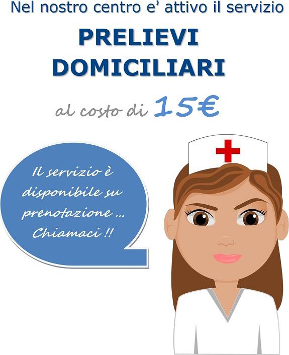 PRELIEVI DOMICILIARI AL COSTO DI 15€